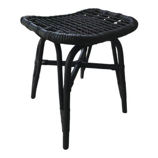 Vintage Indonesian Black Bamboo and Rattan Stool or Ottoman, C. 1970's For Sale