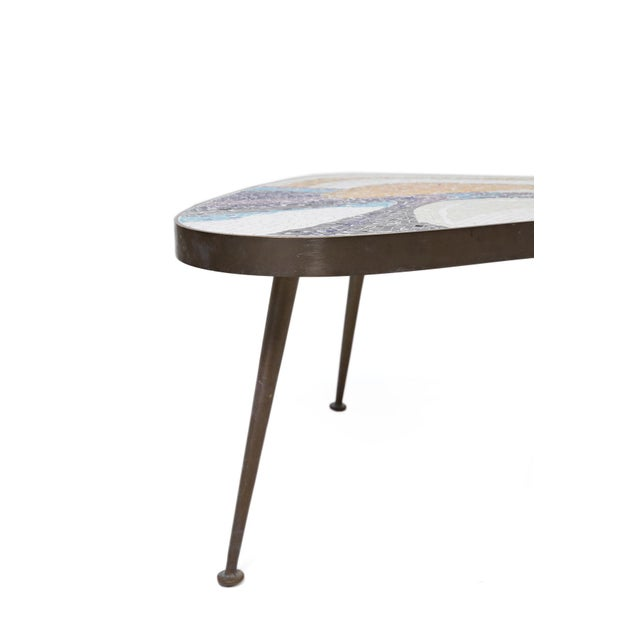 1950s Abstract Margot Stewart Mosaic & Patinated Brass Free-Form Coffee Table For Sale - Image 5 of 7