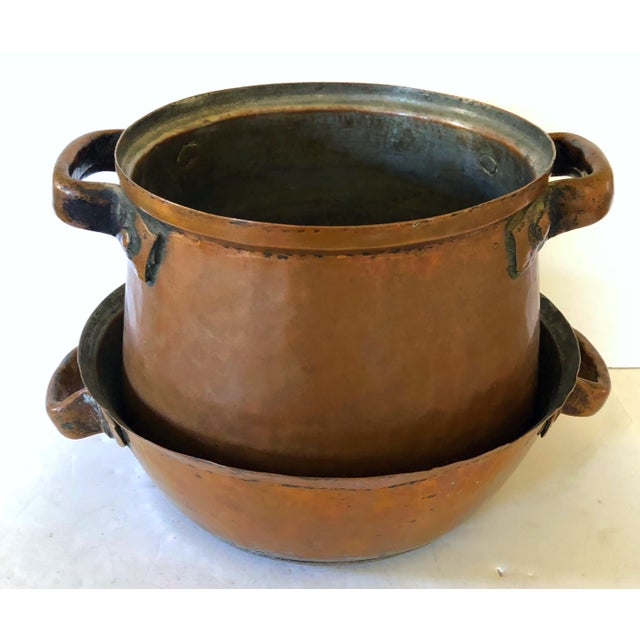 Hand Wrought French Copper Pot and Colander For Sale In San Francisco - Image 6 of 7