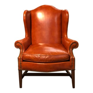 Vintage Georgian Style Orange Leather Arm Chair With Brass Tacks & Stretcher For Sale
