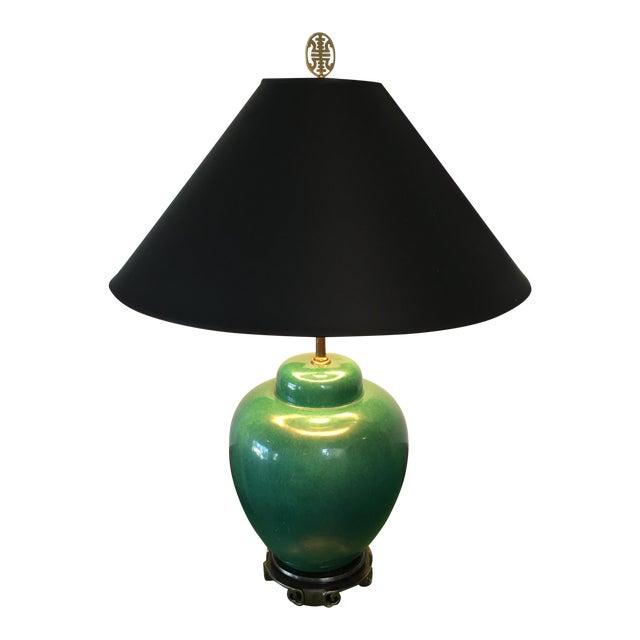 Large Jade Green Porcelain Glazed Lamp - Image 1 of 6