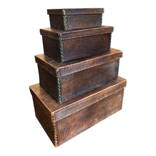 Antique Crocodile Nesting Boxes - Set of 4 For Sale