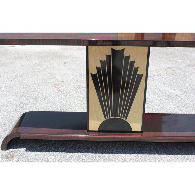 "French Art Deco Exotic Macassar Ebony ""Sunray"" Console Table, circa 1940s For Sale In Miami - Image 6 of 9"