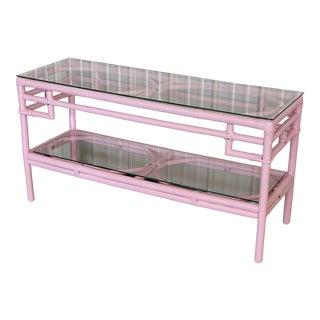 Vintage Regency Pink Ficks Reed Console Table For Sale