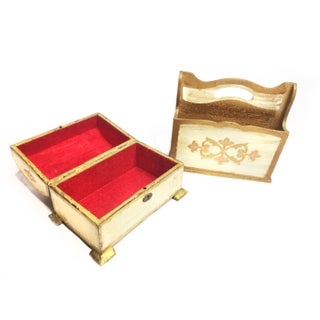 1960s Hollywood Regency Florentine Style Wooden Footed Chest and Letter Holder - 2 Pieces Preview