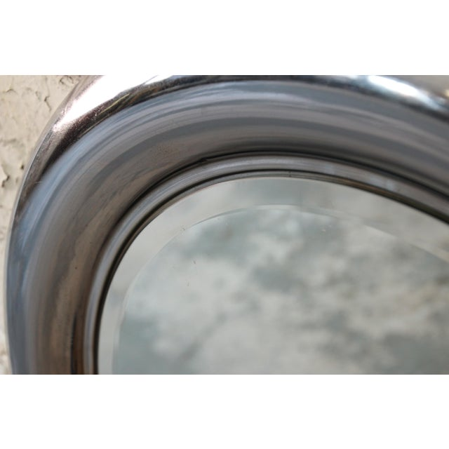 Reggiani 1970s Reggiani Italian Circular Chrome Mirror For Sale - Image 4 of 6
