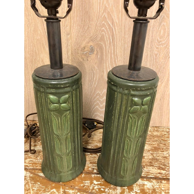 Boho Chic Arts and Craft Ceramic Matt Green Table Lamps With Box Pleated Shades - a Pair For Sale - Image 3 of 8