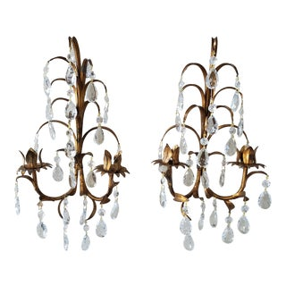 Italian Tole Double Candle Wall Sconces With Crystals, a Pair For Sale