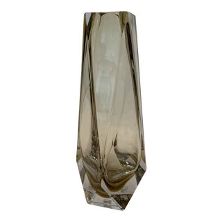 21st Century Champagne Murano XL Crystal Faceted Vase by Mandruzzato For Sale