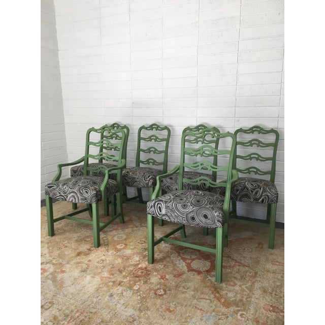 Green Chippendale Black Geode Upholstered Dining Chairs - Set of 6 For Sale - Image 10 of 10