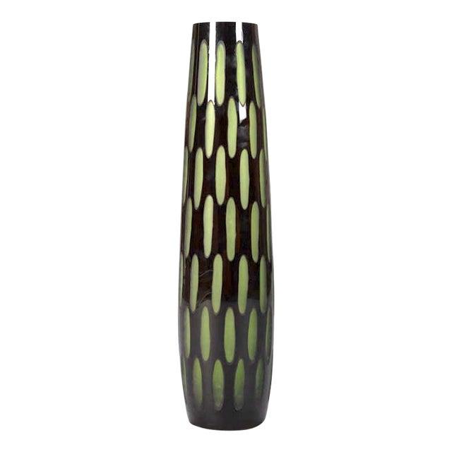 Mid-Century Black & Green Case Glass Vase - Image 1 of 6