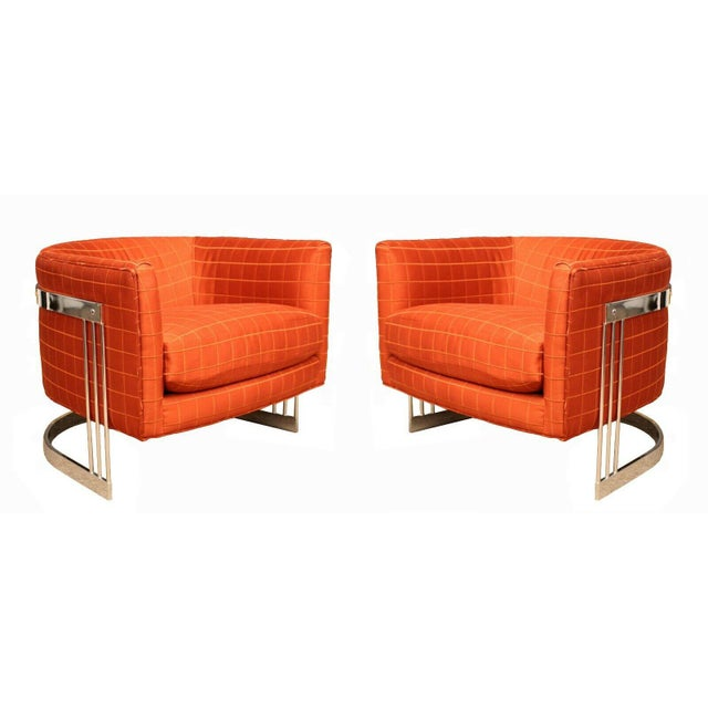 Mid Century Modern Flair Chrome Wrapped Lounge ChairsBaughman Era - a Pair For Sale - Image 12 of 12