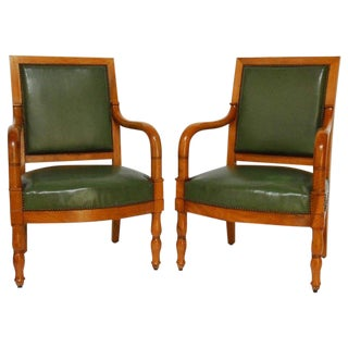 French Empire Mahogany Library Chairs - A Pair