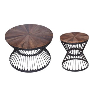 Contemporary Round Coffee & Side Table - a Pair