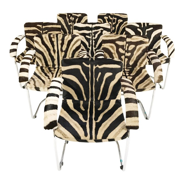 Giovanni Offredi for Saporiti Lens Chairs in Zebra - Set of 8 - Image 1 of 11