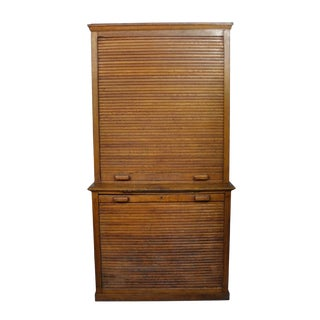 Antique Dutch Art Deco Roll Top File Cabinet For Sale