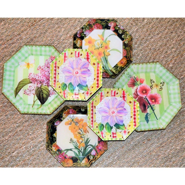Botanical & Butterfly Decoupage Plates - Set of 6 For Sale - Image 10 of 10