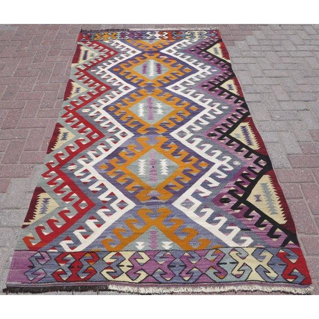 """Vintage Turkish Kilim Area Rug - 4'1"""" x 7'7"""" - Image 2 of 3"""