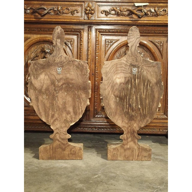 Wood Pair of Neoclassical Style Carved Wooden Half Urns From England For Sale - Image 7 of 11