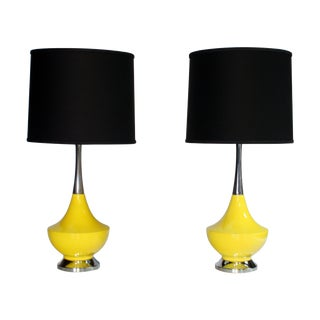 Yellow Ceramic and Chrome Genie Lamps - A Pair