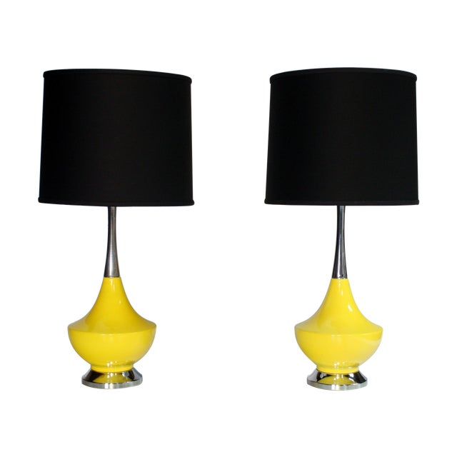 Yellow Ceramic and Chrome Genie Lamps - A Pair For Sale