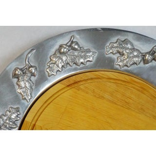 Large Pewter Serving Tray With Wooden Insert by Mariposa Preview
