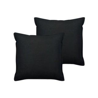 Black Flanged Linen Pillows - Set of 4