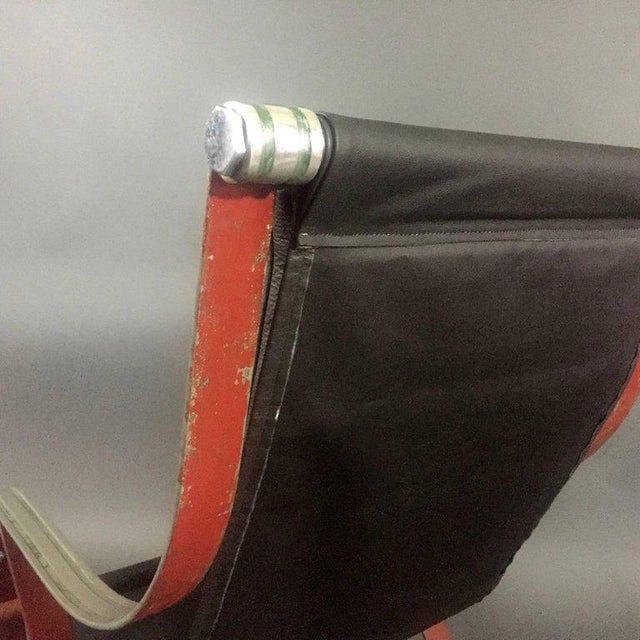 Metal 1930s McKay Craft Leather and Steel Sling Chair For Sale - Image 7 of 8