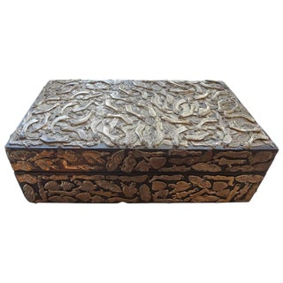 Circa. 1940 Silver Plated Milagros Embellished Mexican Wood Box