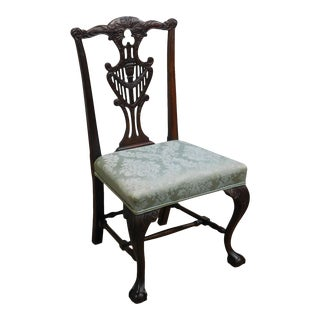 Chippendale Style Antique 1920's Carved Mahogany Side Chair For Sale