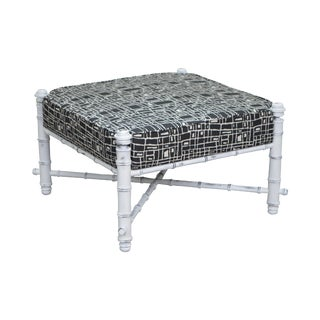 Custom Painted Faux Bamboo Large Square Upholstered Ottoman For Sale