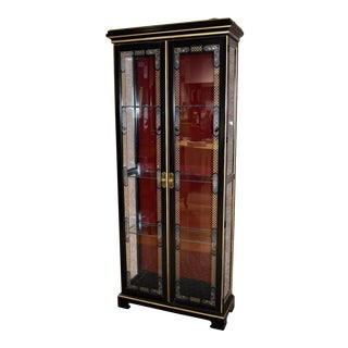 1980s Asian Style Lighted Curio Cabinet For Sale