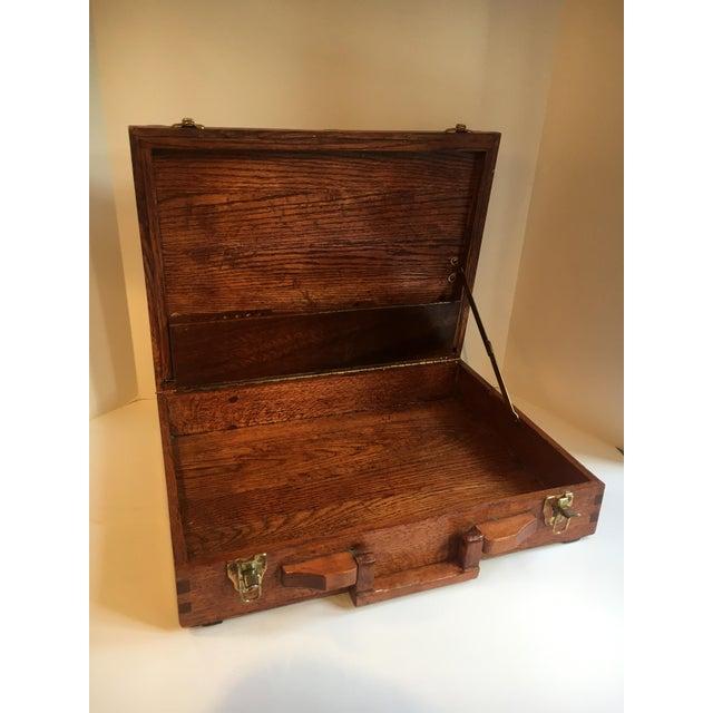 Folk Art Folk Art Wooden Attache Briefcase Art Case For Sale - Image 3 of 6