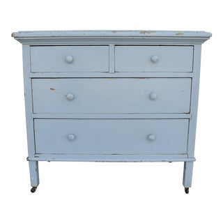Early 1900s Sky-Blue Painted Farmhouse Dresser Chest