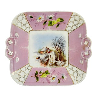 Pastoral Scene Pink Hand Painted Plate For Sale