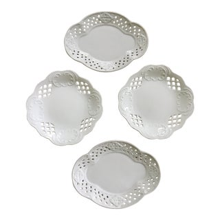 Shabby Chic White Reticulated Porcelain Plates - Set of 4