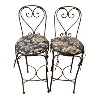 Wrought Iron Barstools - A Pair For Sale