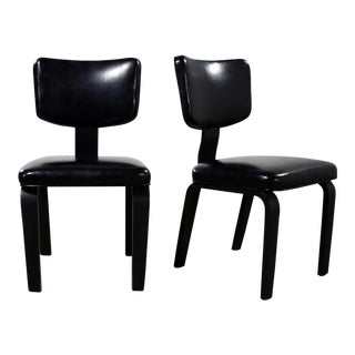 Mid Century Modern Pair of Black Thonet Bentwood and Vinyl Chairs For Sale