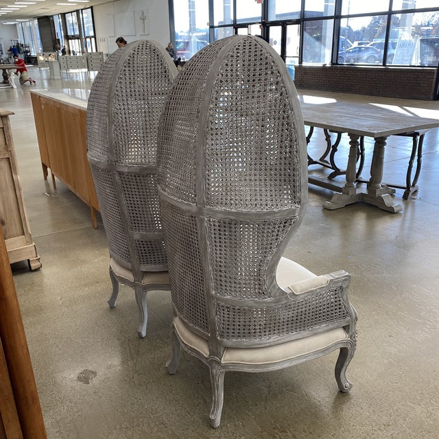 French Country French Balloon Caned Porters Canopy Chairs - a Pair For Sale - Image 3 of 13