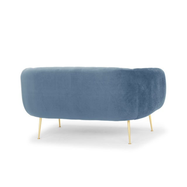 Contemporary Dust Blue, Brushed Brass Channeled Settee For Sale - Image 3 of 6