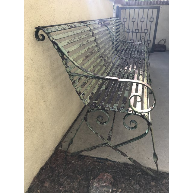 19th Century Antique French Wrought Iron Green Garden Park Restaurant Bench For Sale In Los Angeles - Image 6 of 13