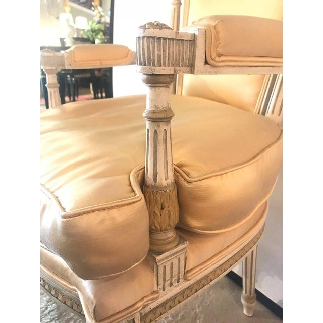 Jansen Parcel Paint and Gilt Decorated Arm or Desk Chair For Sale - Image 10 of 13