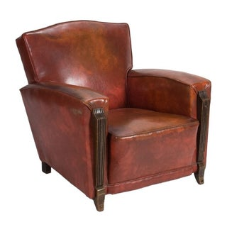 Antique French Brown Club Chair For Sale