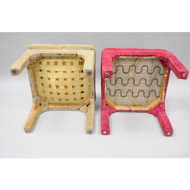 Vintage Hollywood Regency Parson Pink & Beige Stools Upholstered Bench Ottoman - a Pair - Image 5 of 11