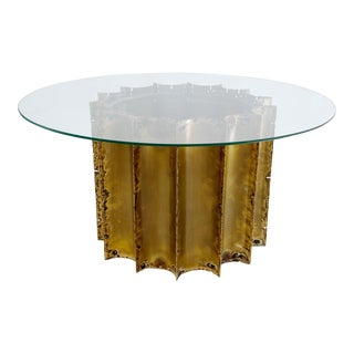 1970s Tom Greene Brutalist Brass Coffee Table Glass Top For Sale