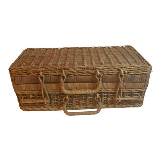 Vintage Natural Wicker Luggage For Sale