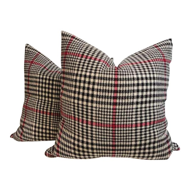 Pair of Pendleton Plaid Hounds Tooth Pillows For Sale