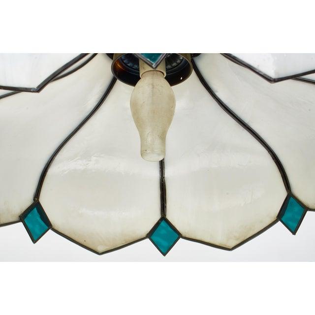 Metal Mid-Century White Slag Glass Pendant Fixture For Sale - Image 7 of 8