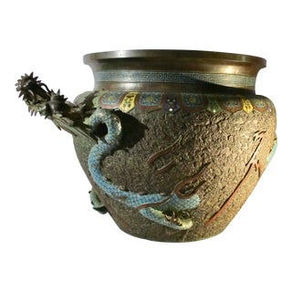 Japanese Champleve Bronze Jardiniere With Dragon For Sale