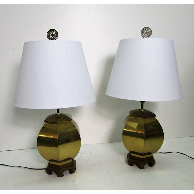 Vintage 1970s Chinoiserie Brass Lamps - a Pair For Sale In West Palm - Image 6 of 6